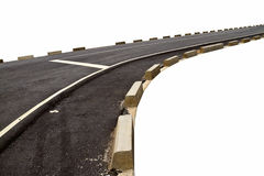 Abstract zwart asfaltwegvervoer en kromme met concreet BO Stock Fotografie