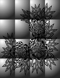 Abstract zwart bloemenornament op grijze achtergrond Royalty-vrije Stock Foto