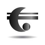 Abstract zwart embleem Halve maan en de twee banden Vectorillustra Stock Afbeelding