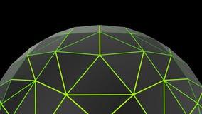 Abstract zwart laag poly groen neon gloeiend semi gebied Royalty-vrije Stock Afbeeldingen