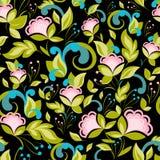 Abstract zwart patroon met bloemenachtergrond Royalty-vrije Stock Afbeeldingen