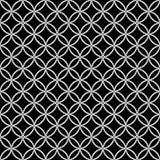 Abstract zwart-wit naadloos patroon in Aziatische stijl met overlappende gestippelde cirkels Stock Fotografie