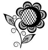 Abstract zwart-wit zonnebloemembleem. Geïsoleerde op wit Stock Afbeeldingen