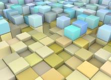 Abstracte 3d achtergrond in geel blauw Stock Fotografie