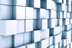 Abstracte 3D achtergrond met chroom en kubussen Stock Foto's