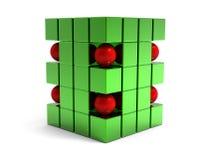Abstracte 3d gebied en kubussen Royalty-vrije Stock Afbeelding