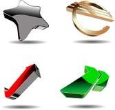 Abstracte 3D symbolen. stock illustratie