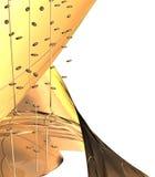 Abstracte 3D voorwerpen op een gele achtergrond Stock Afbeeldingen