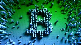 Abstracte aantallen willekeurige beweging in de vorm van muntstukken bitcoin Veelkleurige 4K vector illustratie