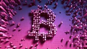 Abstracte aantallen willekeurige beweging in de vorm van muntstukken bitcoin Veelkleurige 4K royalty-vrije illustratie