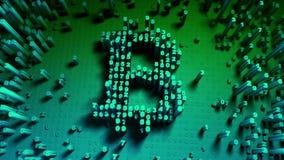 Abstracte aantallen willekeurige beweging in de vorm van muntstukken bitcoin Veelkleurige 4K stock illustratie