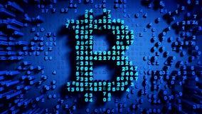 Abstracte aantallen Willekeurige motie in de vorm van muntstukken bitcoin Royalty-vrije Stock Foto