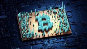 Abstracte aantallen Willekeurige motie in de vorm van muntstukken bitcoin Royalty-vrije Stock Fotografie
