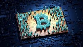 Abstracte aantallen Willekeurige motie in de vorm van muntstukken bitcoin Royalty-vrije Stock Foto's