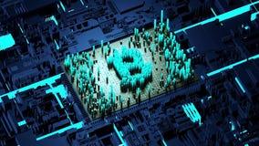 Abstracte aantallen Willekeurige motie in de vorm van muntstukken bitcoin Blauwe achtergrond 4K royalty-vrije illustratie