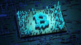 Abstracte aantallen Willekeurige motie in de vorm van muntstukken bitcoin Blauwe achtergrond 4K stock illustratie