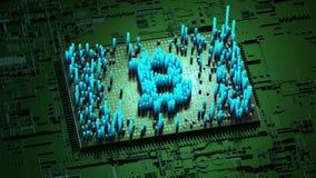 Abstracte aantallen Willekeurige motie in de vorm van muntstukken bitcoin, Groene kleur 4K stock illustratie