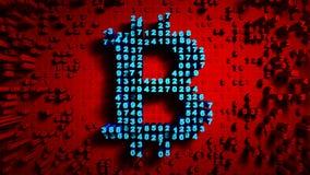 Abstracte aantallen Willekeurige motie in de vorm van muntstukken bitcoin, Rode kleur 4K vector illustratie
