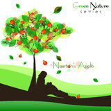 Abstracte aardachtergrond met het fructifying van boom De appel van Newton Royalty-vrije Stock Afbeelding