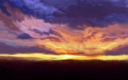 Abstracte aardachtergrond met Kleurrijke zonsondergang Stock Fotografie