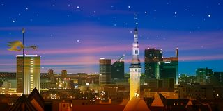 Abstracte aardachtergrond met zonsondergang en cityscape Stock Afbeelding