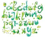 Abstracte ABC, groen alfabet met bladeren Stock Afbeelding