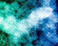 Abstracte achtergrond - blauwe en groene grunge met diamantenpatroon Stock Fotografie