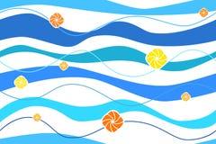 Abstracte achtergrond blauwe naadloze golven oranje en gele cirkels Stock Foto