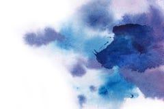 abstracte achtergrond De waterverfplons heeft manueel blauw, p getrokken stock foto