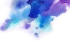 abstracte achtergrond De waterverfplons schilderde manueel blauw, pi royalty-vrije stock afbeeldingen