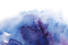 abstracte achtergrond De waterverfplons schilderde manueel blauw, pi Royalty-vrije Stock Foto