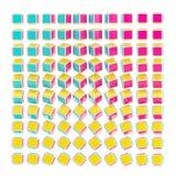 Abstracte achtergrond die van kubussen CMYK wordt gemaakt Royalty-vrije Stock Foto