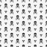 abstracte achtergrond Een patroon op een witte achtergrond van zwarte schedels Teken van straling Behang voor uw projecten Gevaar royalty-vrije illustratie