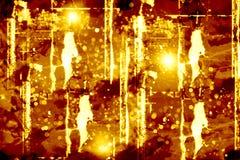 Abstracte achtergrond, een schermbeveiliging in de vorm van een sjofele muur met een textuur van bruin en geel met een gloed royalty-vrije stock afbeelding