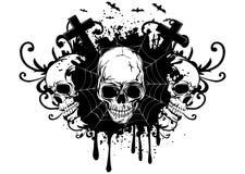 Abstracte achtergrond en drie schedels Stock Afbeeldingen