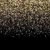 abstracte achtergrond Gouden stralen van licht met lichtgevende magische stofgloed in dark Vliegende deeltjes van licht stock illustratie