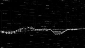 Abstracte achtergrond met animatie van het kweken van grafieken en het stromen van tellers van aantallen Financiële cijfers en di royalty-vrije illustratie