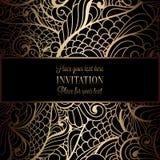 Abstracte achtergrond met antiquiteit, luxe zwart en gouden uitstekend kader, victorian banner royalty-vrije illustratie