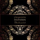 Abstracte achtergrond met antiquiteit, luxe zwart en gouden uitstekend kader, victorian banner, ornamenten van het damast de bloe vector illustratie