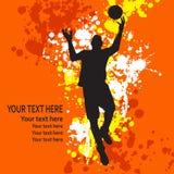 Abstracte achtergrond met basketbalspeler Stock Afbeelding