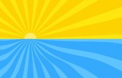Abstracte achtergrond met beeldverhaalstralen van gele en blauwe kleur Zon en oceaan, de zomermalplaatje voor uw projecten Het be royalty-vrije illustratie