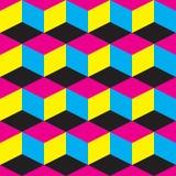 Abstracte achtergrond met beweging veroorzakende CMYK Royalty-vrije Stock Afbeelding