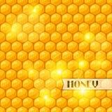 Abstracte achtergrond met bijenhoningraten en honing Stock Afbeelding