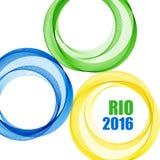Abstracte achtergrond met blauwe, gele en groene ringen Vector illustratie Royalty-vrije Stock Afbeelding