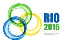 Abstracte achtergrond met blauwe, gele en groene ringen Vector illustratie Stock Foto's