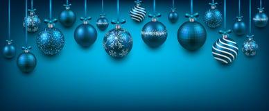 Abstracte achtergrond met blauwe Kerstmisballen Royalty-vrije Stock Foto