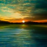 Abstracte achtergrond met bosmeer Stock Foto