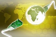 Abstracte achtergrond met computerkabels Stock Afbeelding