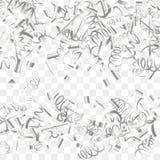 Abstracte achtergrond met dalende zilveren confettien royalty-vrije illustratie