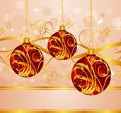 Abstracte achtergrond met de ballen van Kerstmis Stock Afbeelding